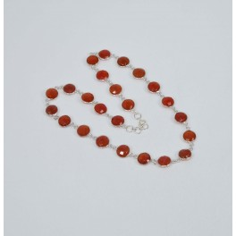 925 SOLID STERLING SILVER FACETED RED CARNELIAN NECKLACE 18 INCH