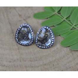 925 SOLID STERLING SILVER GOLD OVERLAY BLACK RUTILE CZ STUD EARRING- 1 INCH