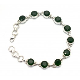 925 SOLID STERLING SILVER FACETED GREEN ONYX BRACELET- 8.2 INCH