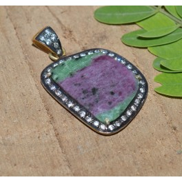 925 SOLID STERLING SILVER 24CT GOLD OVERLAY FACETED RUBY ZOISITE CZ PENDANT