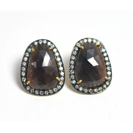 925 SOLID STERLING SILVER 24CT GOLD OVERLAY MULTI SAPPHIRE CZ STUD EARRING