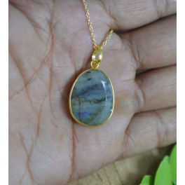 925 SOLID STERLING SILVER 24CT GOLD OVERLAY FACETED LABRADORITE CHAIN PENDANT