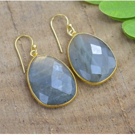 925 SOLID STERLING SILVER 24CT GOLD OVERLAY LABRADORITE HOOK EARRING 1.5 INCH