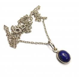 925 SOLID STERLING SILVER BLUE LAPIS LAZULI CHAIN PENDANT- 16.7 INCH