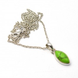 925 SOLID STERLING SILVER GREEN TURQUOISE CHAIN PENDANT-15.8 INCH