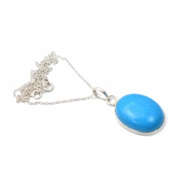 925 SOLID STERLING SILVER BLUE TURQUOISE CHAIN PENDANT-19.2 INCH