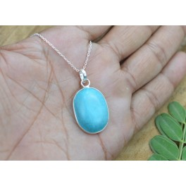 925 SOLID STERLING SILVER TURQUOISE CHAIN PENDANT-19.3 INCH