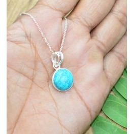 925 SOLID STERLING SILVER BLUE TURQUOISE CHAIN PENDANT- 19 INCH