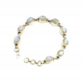 925 SOLID STERLING SILVER WHITE RAINBOW MOONSTONE BRACELET- 7.8 INCH