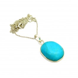 925 SOLID STERLING SILVER BLUE TURQUOISE CHAIN PENDANT- 19.2 INCH
