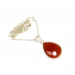 925 SOLID STERLING SILVER RED CARNELIAN CHAIN PENDANT- 19.2 INCH