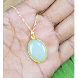 925 SOLID STERLING SILVER 24CT GOLD OVERLAY AQUA CHALCEDONY CHAIN PENDANT