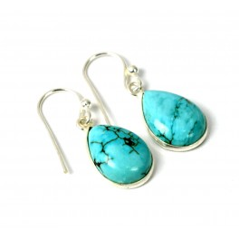 925 SOLID STERLING SILVER TURQUOISE HOOK EARRING-1.2 INCH