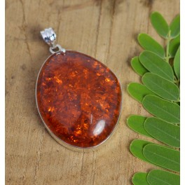 925 SOLID STERLING SILVER YELLOW AMBER PENDANT-2.5 INCH