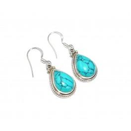 925 SOLID STERLING SILVER BLUE TURQUOISE HOOK EARRING - 1.2 INCH
