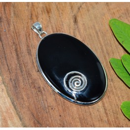 925 SOLID STERLING SILVER BLACK ONYX PENDANT - 2.5 INCH