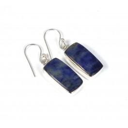 925 SOLID STERLING SILVER BLUE SODALITE HOOK EARRING-1.5 INCH