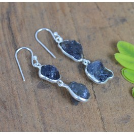 925 SOLID STERLING SILVER ROUGH BLUE IOLITE HOOK EARRING -1.7 INCH