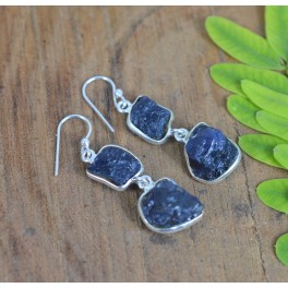925 SOLID STERLING SILVER ROUGH BLUE IOLITE HOOK EARRING -1.8 INCH