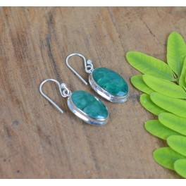 925 SOLID STERLING SILVER FACETED GREEN EMERALD HOOK EARRING -1.2 INCH