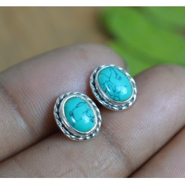 925 SOLID STERLING SILVER TURQUOISE STUD EARRING
