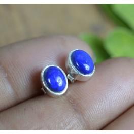 925 SOLID STERLING SILVER BLUE LAPIS LAZULI STUD EARRING