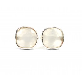 925 SOLID STERLING SILVER FACETED GREY ONYX STUD EARRING