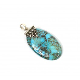 925 SOLID STERLING SILVER BLUE TURQUOISE PENDANT -1.7 INCH