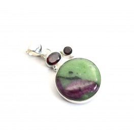 925 SOLID STERLING SILVER RUBY ZOISITE MIX STONE PENDANT -1.5 INCH