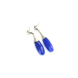 925 SOLID STERLING SILVER CUT BLUE SAPPHIRE JADE STUD EARRING -2 INCH