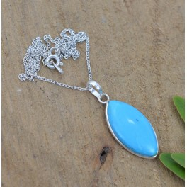 925 SOLID STERLING SILVER BLUE TURQUOISE CHAIN PENDANT -19.3 INCH