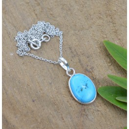925 SOLID STERLING SILVER BLUE TURQUOISE CHAIN PENDANT -18.8 INCH