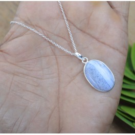 925 SOLID STERLING SILVER BLUE LACE AGATE CHAIN PENDANT -19.3 INCH