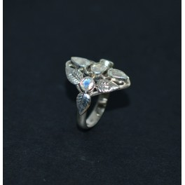 925 SOLID STERLING SILVER CUT WHITE RAINBOW MOONSTONE RING -7 US