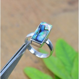 925 SOLID STERLING SILVER ABALONE SHELL  RING - 6 US
