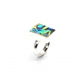 925 SOLID STERLING SILVER ABALONE SHELL  RING - 7 US
