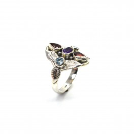 925 SOLID STERLING SILVER PURPLE AMETHYST MIX RING -9 US