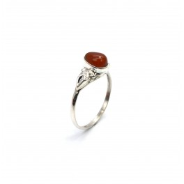 925 SOLID STERLING SILVER RED CARNELIAN RING -7 US