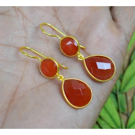 925 SOLID STERLING SILVER 24CT GOLD OVERLAY CARNELIAN HOOK EARRING-1.6 INCH