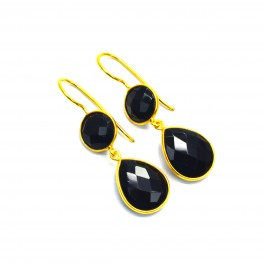 925 SOLID STERLING SILVER 24CT GOLD OVERLAY BLACK ONYX HOOK EARRING-1.6 INCH