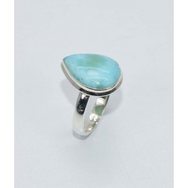 925 SOLID STERLING SILVER BLUE LARIMAR RING- 8 US