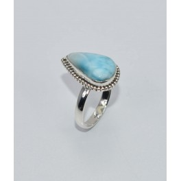 925 SOLID STERLING SILVER BLUE LARIMAR RING- 6.5 US