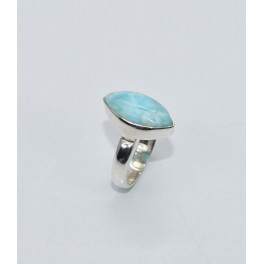 925 SOLID STERLING SILVER BLUE LARIMAR RING- 5.5 US