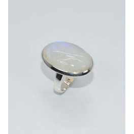 925 SOLID STERLING SILVER WHITE RAINBOW MOONSTONE RING- 9 US