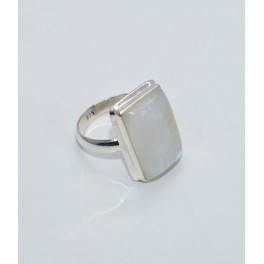 925 SOLID STERLING SILVER WHITE RAINBOW MOONSTONE RING- 10 US