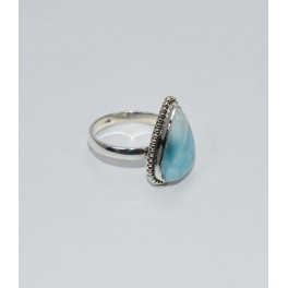 925 SOLID STERLING SILVER BLUE LARIMAR RING- 8.5 US
