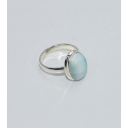 925 SOLID STERLING SILVER BLUE LARIMAR RING- 6 US