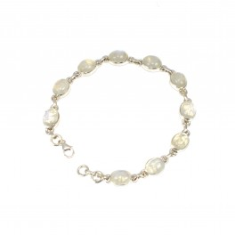 925 SOLID STERLING SILVER WHITE RAINBOW MOONSTONE BRACELET- 8.5 INCH