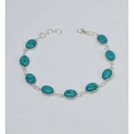 925 SOLID STERLING SILVER BLUE TURQUOISE BRACELET- 8.3 INCH