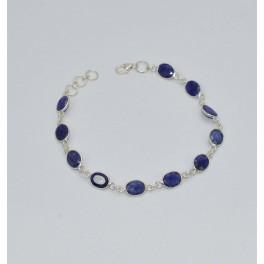 925 SOLID STERLING SILVER CUT BLUE SAPPHIRE BRACELET- 8 INCH